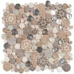 Beige Penny Round D_cor Glass Interlocking - 12x12 sheet - MAMI103Beige Penny Round D_cor Glass Interlocking - 12x12 sheet - MAMI103