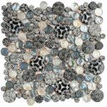 Black Penny Round D_cor Glass Interlocking - 12x12 sheet - MAMI101