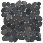 Black Rectified Matte Pebble Interlocking - 12x12 Sheet GANO01R