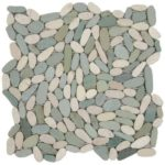 Mix White Green Sliced Matte Pebble Interlocking GAMI38