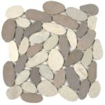 Mix WhiteBeige XL Sliced Matte Pebble Interlocking GAMI74