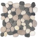 Mix WhiteBlackBeige Rectified Matte Pebble Interlocking - 12x12 Sheet GAMI62R