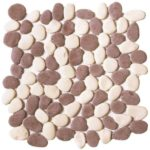 Mix WhiteBrown Reconstituted Pebble Interlocking - 12x12 Sheet GAMI01