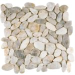 White Sliced Polished Pebble Interlocking GABL23